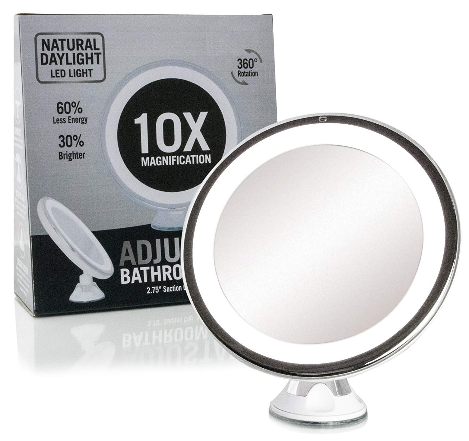 Fancii Daylight LED 10X Magnifying Makeup Mirror - 8.0 Large Lighted Travel Vanity Mirror - Dimmable Light, Cordless, Battery Operated, Locking Suction, 360 Rotation, Portable & Illuminated TYT FC-LMMM10X