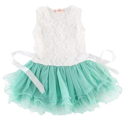 cbe1a1959ff2 Amazon.com  Kids Girls Princess Party Rose Flower Lace Ruffled ...