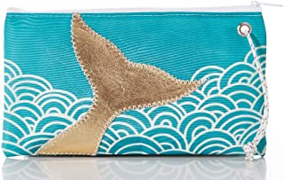 product image for Sea Bags Recycled Sail Cloth Gold Mermaid Tail and Aquamarine Waves Wristlet Large