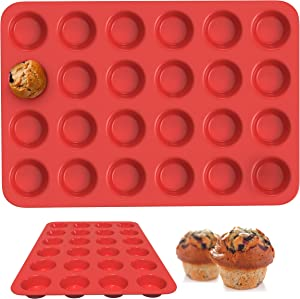 AndHeCooks Silicone Muffin Pan - 1 Pc Heat Resistant Food Grade Muffin Pan, Stable Mold Design, Nonstick Mini Muffin Pan, BPA Free, Easy To Use Mini Cupcake Pan