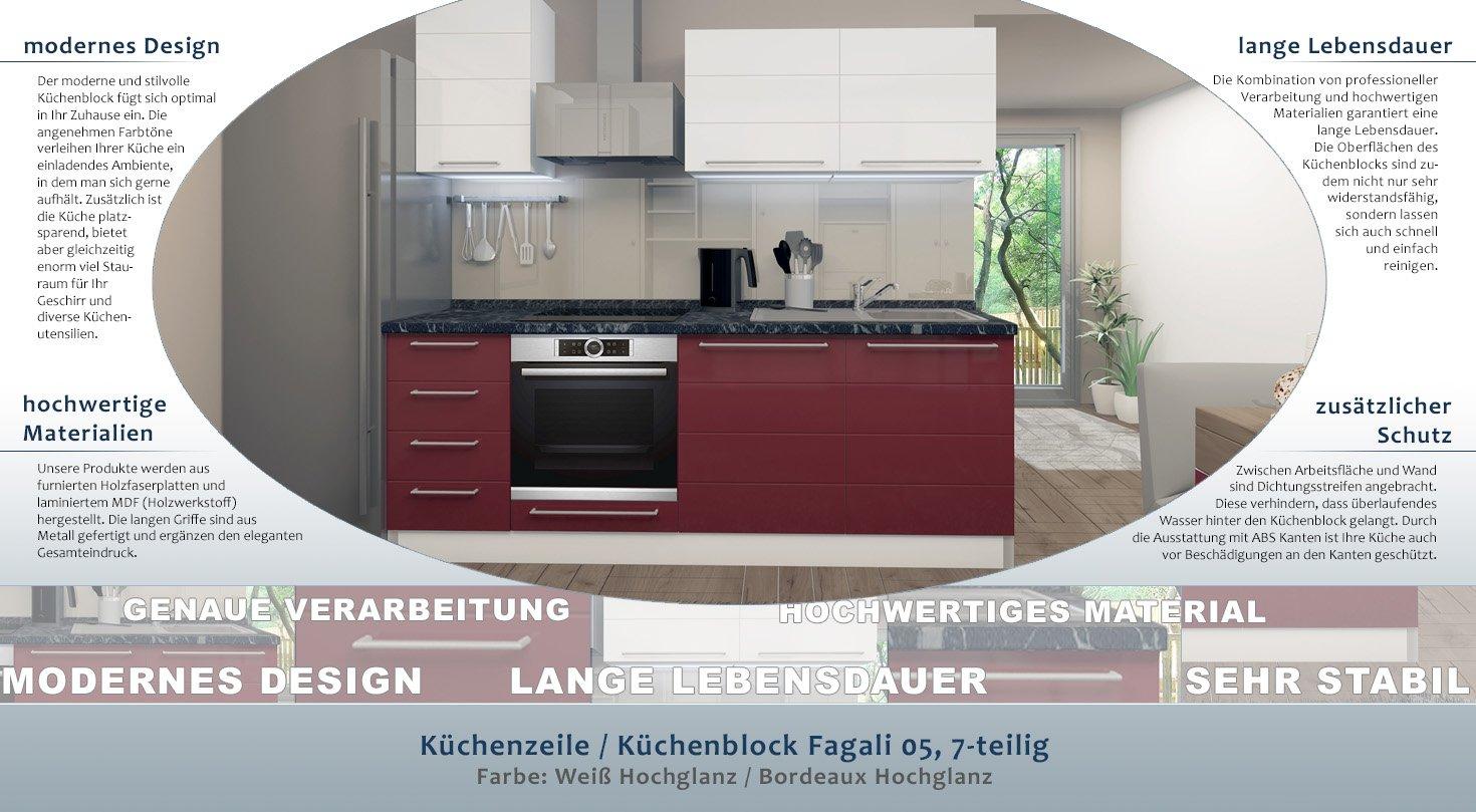 Küchenzeile/Küchenblock Fagali 05, 7-teilig, Farbe: Weiß Hochglanz ...