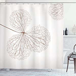Ambesonne Flower Shower Curtain, Abstract Cotton Floral Design with Veins Natural Botanic Plants Image Artwork, Cloth Fabric Bathroom Decor Set with Hooks, 84