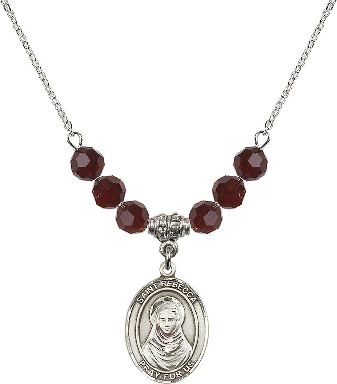 Bonyak Jewelry 18 Inch Rhodium Plated Necklace w// 6mm Red January Birth Month Stone Beads and Saint Rebecca Charm
