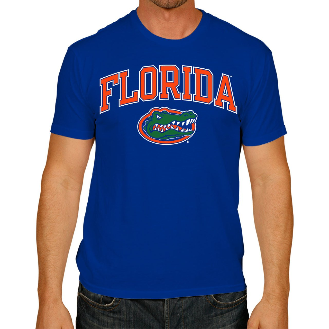 Campus Colors Florida Gators Adult Arch & Logo Soft Style Gameday T-Shirt - Royal, Medium