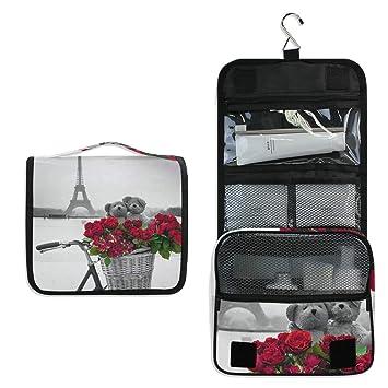 213ae7774dfe Amazon.com : Makeup Bag Eiffel Tower Bike Flower Bear Cosmetic Pouch ...