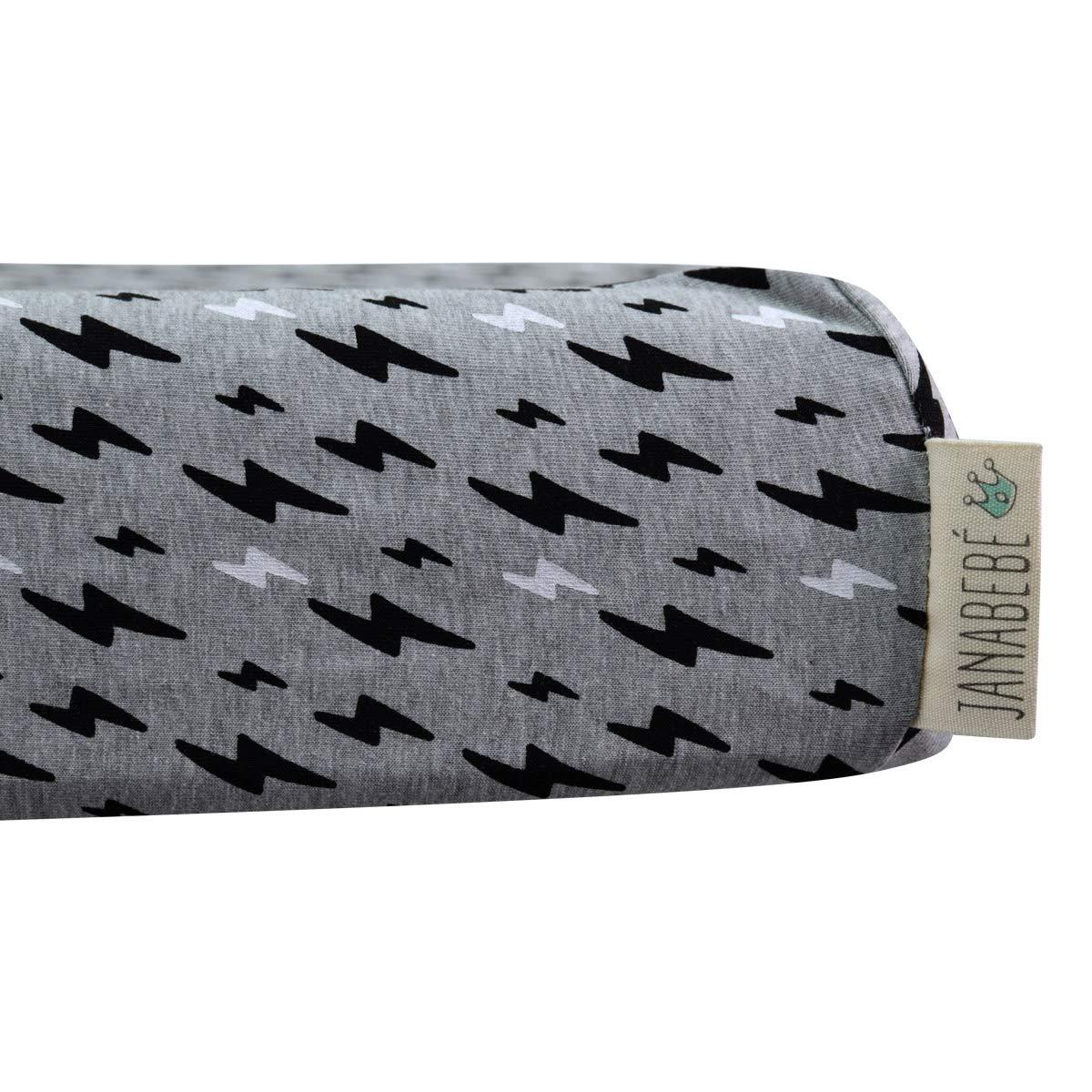 JANABEBE Sábana para cambiador ajustable (BLACK RAYO, 70 X 50 CM)