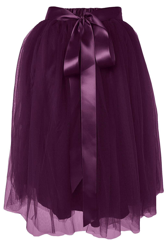 Dancina Women's Knee Length Tutu A Line Layered Tulle Skirt Plus (Size 12-22) Dark Purple