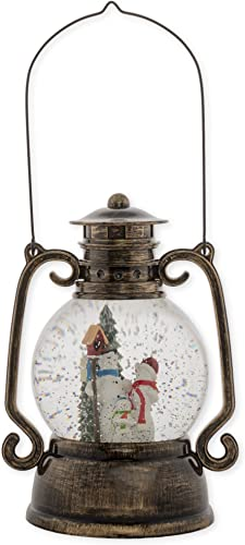 Snowman Family Lantern 11 Inch Tabletop Holiday Glitter Dome Snowglobe