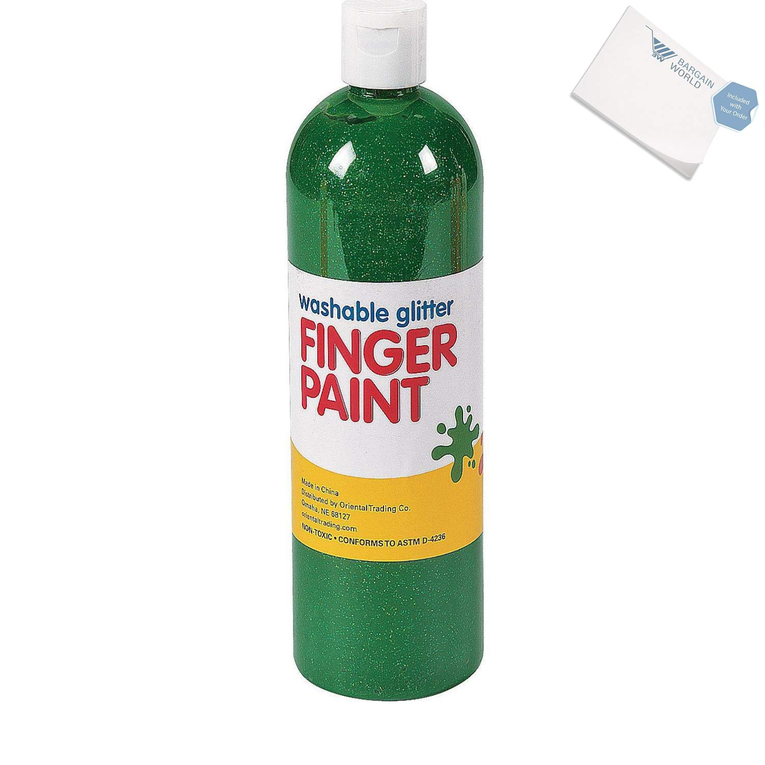 Bargain World Washable Green Glitter Finger Paint - 16 oz. (With Sticky Notes)