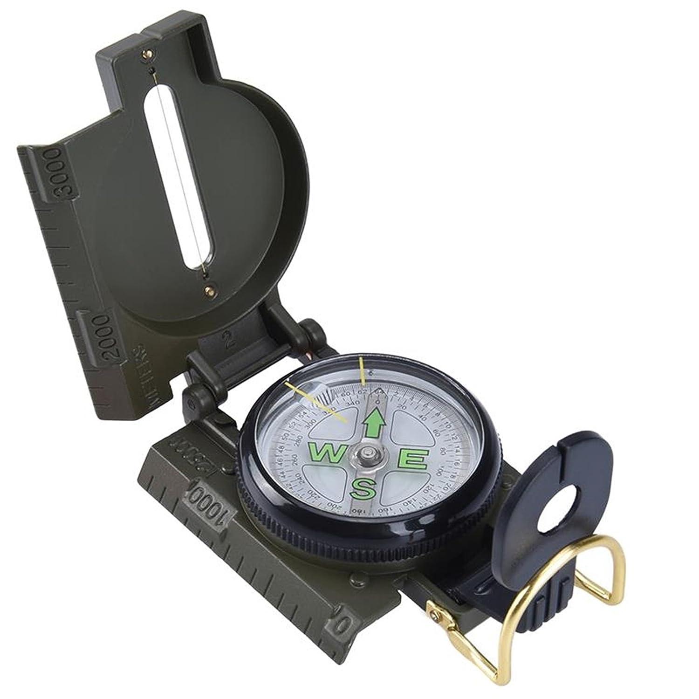 1パックミニMilitary LensaticコンパスキーチェーンMarching拡大鏡アーミーグリーンサバイバル緊急Life first-class人気アウトドアハイキング防水ホイッスルバックパックジオメトリマップガイドツールキット   B079Z6637R
