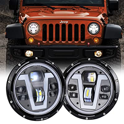 MOVOTOR Jeep Wrangler Headlights Halo 7 inch LED with Amber Turn Signal Lights V Type White DRL Hi Lo Beam for JK CJ TJ JKU Hummer H1 H2: Automotive