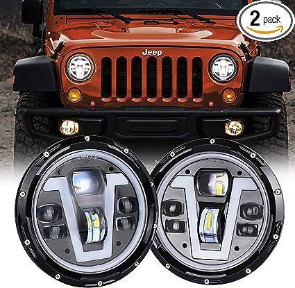 Jeep Wrangler Led Headlights >> Movotor Jeep Wrangler Headlights Halo 7 Inch Led With Amber Turn Signal Lights V Type White Drl Hi Lo Beam For Jk Cj Tj Jku Hummer H1 H2