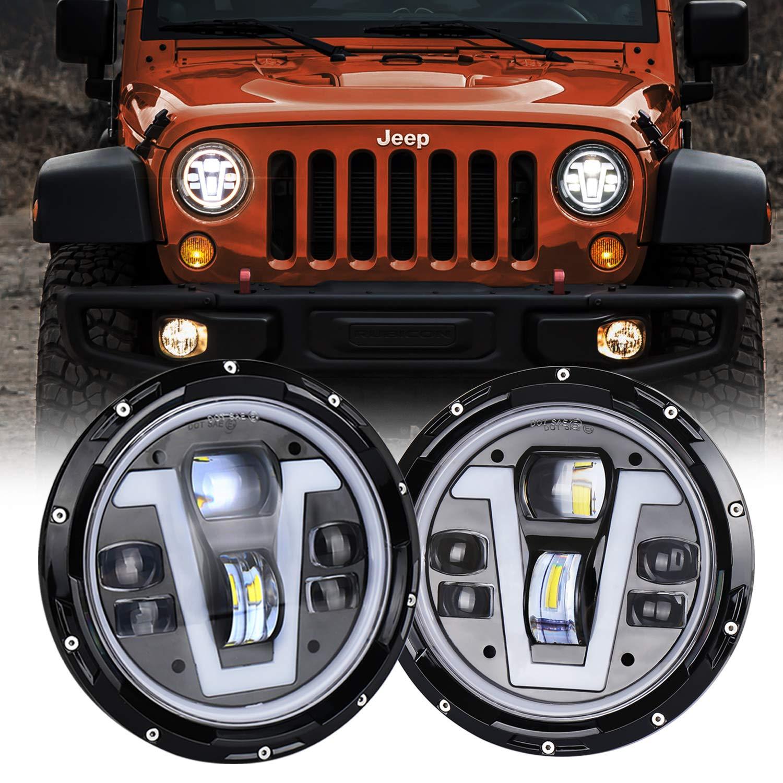 Halo Lights For Jeep Wrangler >> Movotor Jeep Wrangler Headlights Halo 7 Inch Led With Amber Turn Signal Lights V Type White Drl Hi Lo Beam For Jk Cj Tj Jku Hummer H1 H2
