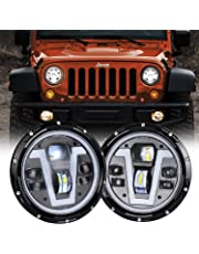 MOVOTOR Jeep Wrangler Headlights Halo 7 inch LED with Amber Turn Signal Lights V Type White DRL Hi Lo Beam for JK CJ TJ JKU Hummer H1 H2
