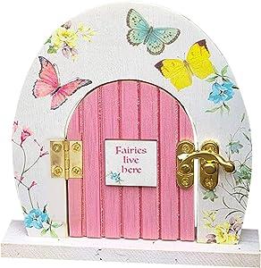 Garden Decor Miniature Door, Fairies Live Here Yard Art Garden Butterfly Wooden Door Decoration, Whimsical Cute Trees Trunk Wooden Gate Decor, Mystical Wall Indoor/Outdoor Craft Kit (A)