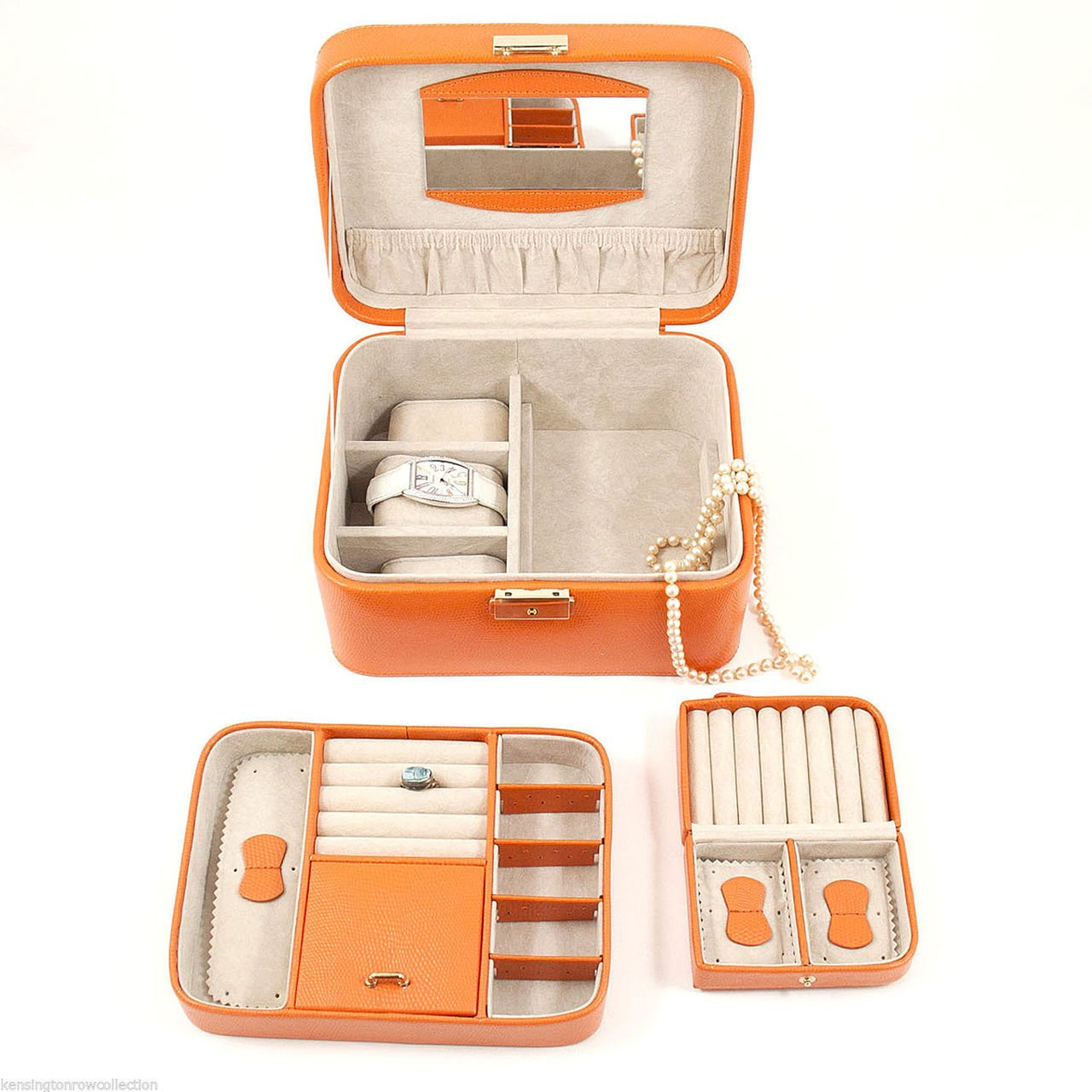 ''ESSEX'' ORANGE LEATHER JEWELRY BOX - REMOVABLE VALET & TRAVEL CASE