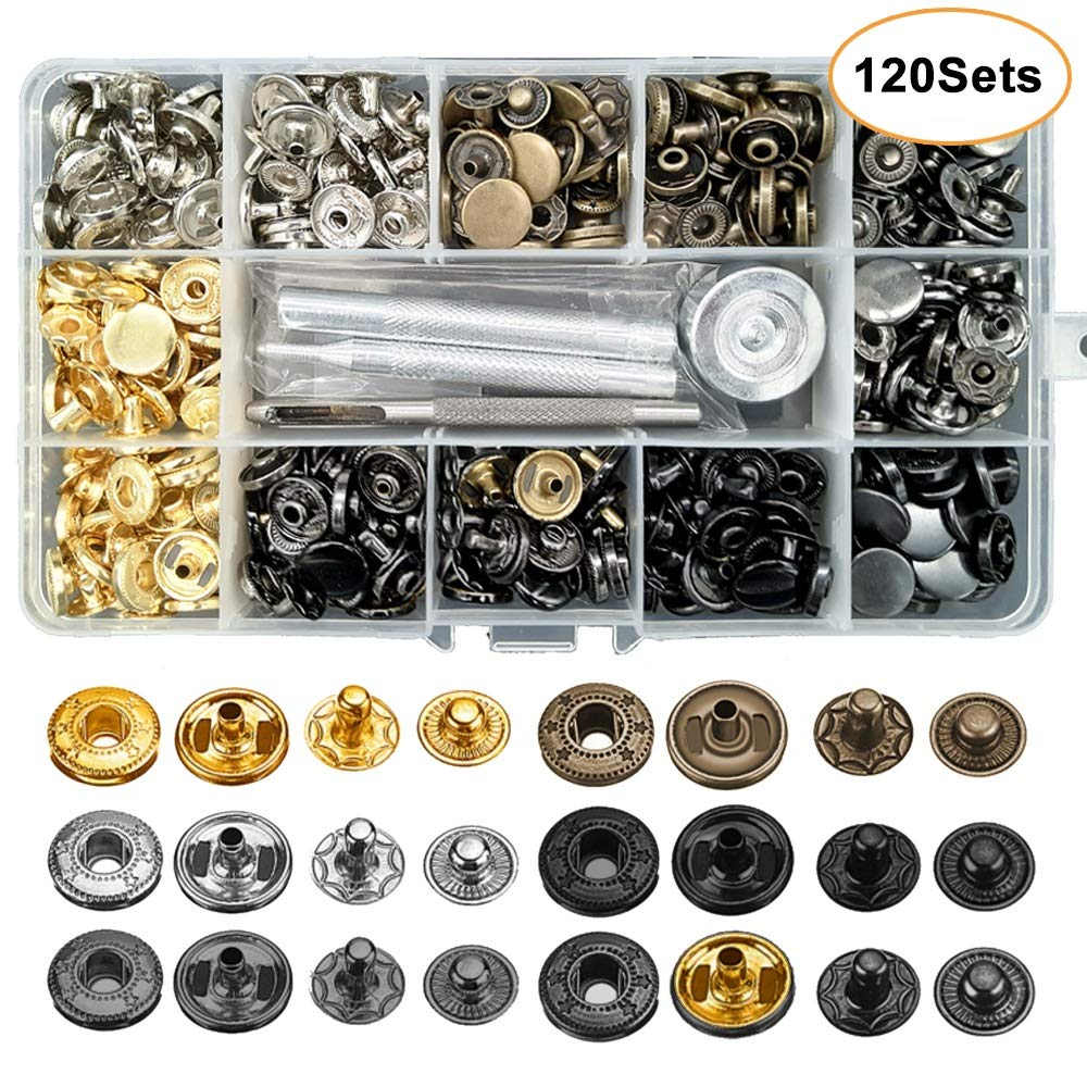 120 Set Leather Snap Fasteners Kit, 12.5mm Metal Button Snaps Press Studs with 4 Installation Tools, 6 Color Leather Snaps for Clothes, Jackets, Jeans Wears, Bracelets, Bags by Alritz