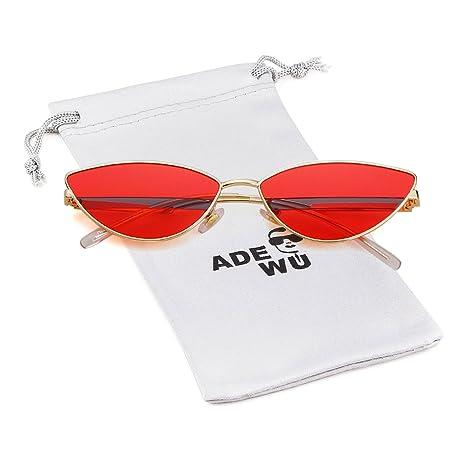 Small Cat Eye Sunglasses Women Vintage Triangular Mirror Metal Leg Shades Glasses by Adewu