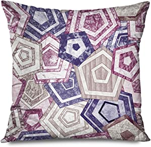 Onete Throw Pillow Cover Decorative 18x18 Inch Square Ethnics Retro Abstraction Abstract Geometric Rainbow Pattern Geometry Angles Band Chevron Figure Cushion Case Home Decor Zippered Pillowcase