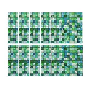Waterproof Self Adhesive Mosaic Tile Sticker Home Kitchen Decor Art Wall Decals