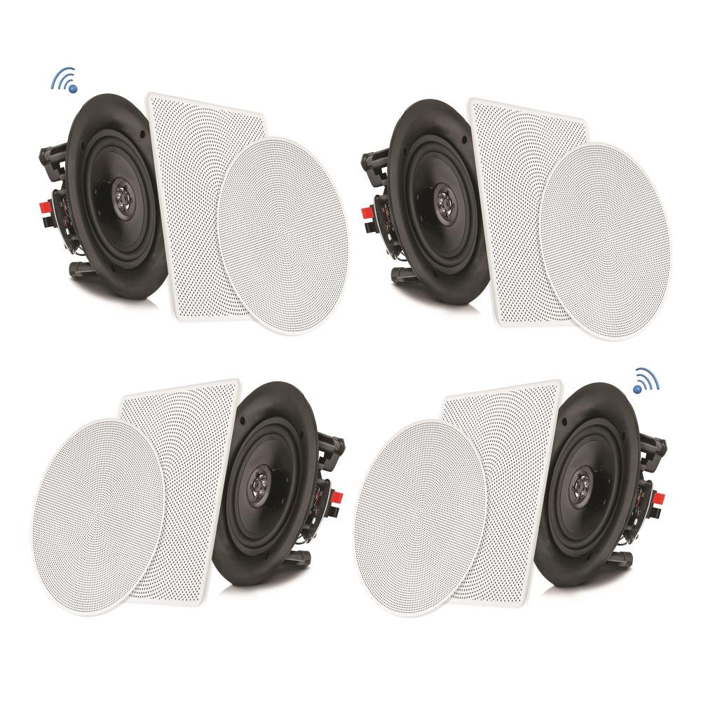 Pyle 8'' 4 Bluetooth Flush Mount In-wall In-ceiling 2-Way Speaker System Quick Connections Changeable Round/Square Grill Polypropylene Cone & Tweeter Stereo Sound 4 Ch Amplifier 250 Watt (PDICBT286)