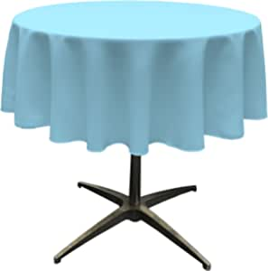 "LA Linen Polyester Poplin Round Tablecloth, 58"", Turquoise Light"