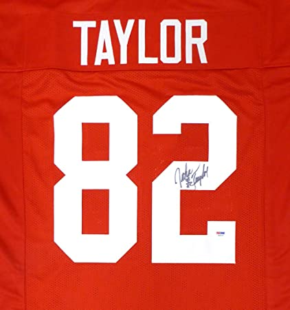 SAN FRANCISCO 49ERS JOHN TAYLOR AUTOGRAPHED RED JERSEY PSA DNA STOCK  130026 bc3dbdef7