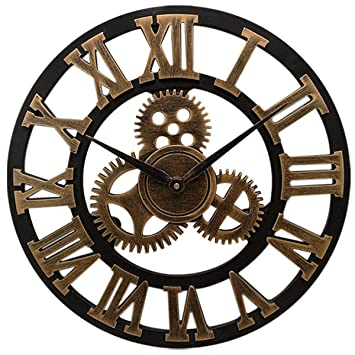 Amazon.com: Imoerjia European Retro Industrial Fans Decorated Living Room Wall Clock Creative Gear Personalized Wall Clock: Home & Kitchen