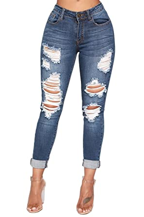 b409cb27827000 Ermonn Womens Ripped Jeans Juniors Skinny High Waisted Distressed Destroyed Denim  Pants at Amazon Women's Jeans store