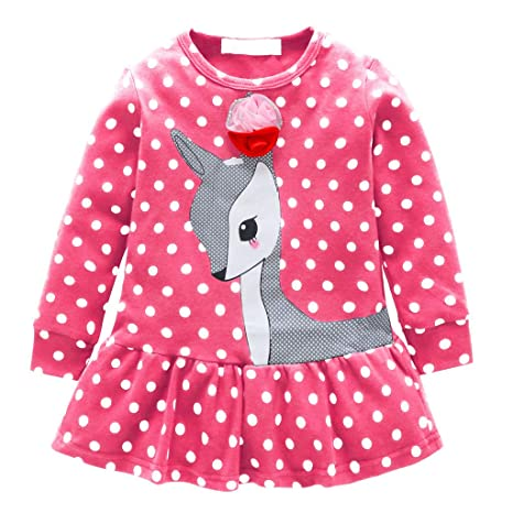 19b35536dc Mayunn Toddler Baby Girl Clothes Long Sleeve Girls Animal Cartoon Print  Casual Dresses for Kids 2-6 Years Gifts Ball Gown Dress (Pink