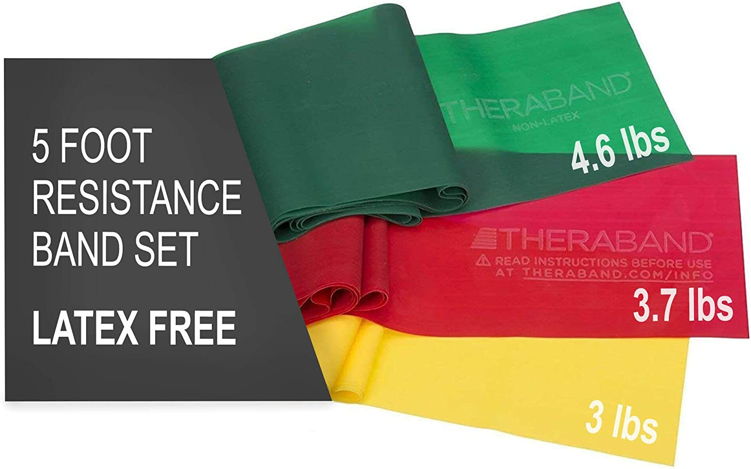 TheraBand Resistance Bands Set, Professional Non-Latex Elastic Band For Upper & Lower Body Exercise, Strength Training without Weights, Physical Therapy, Pilates, Rehab, Yellow & Red & Green, Beginner