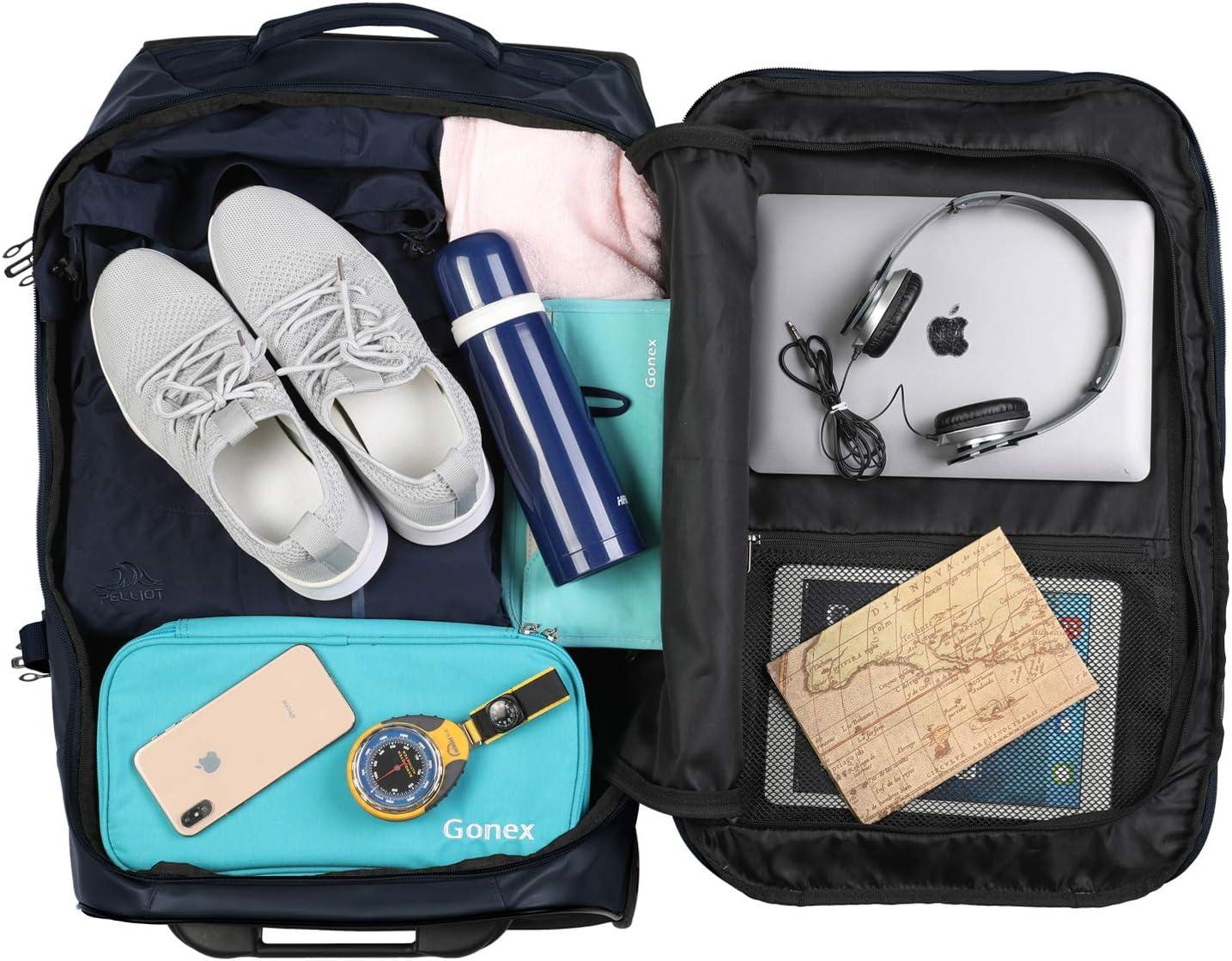 Gonex Sac de Voyage /à Roulette Valise 65cm 70L Moyennde Bagage de Voyage D/éplacement Bleu