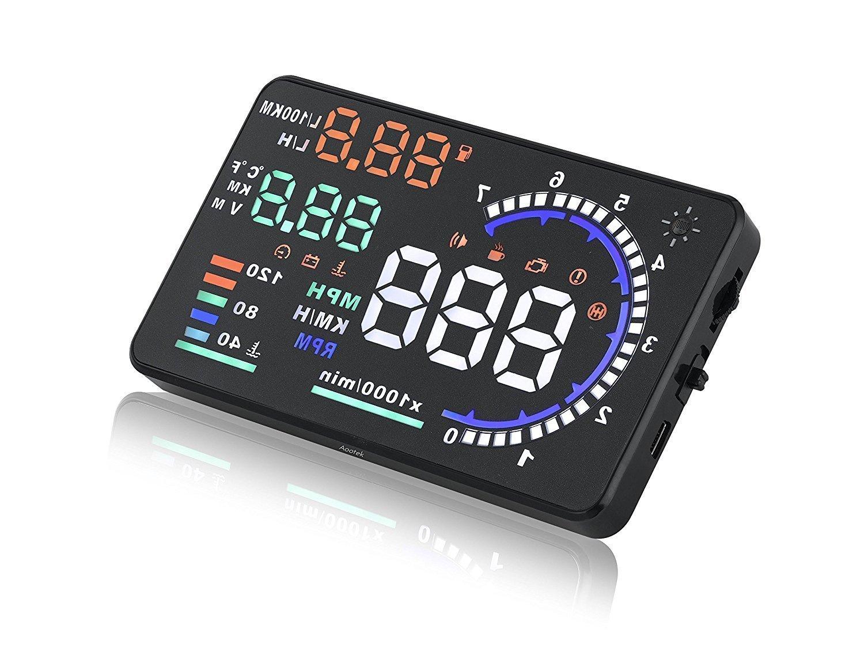 aootek New A8 14 cm Auto HUD Head Up Display in der Sicherheit System mit OBD2 Interface Plug & Play KM/H MPH Speeding Warnung