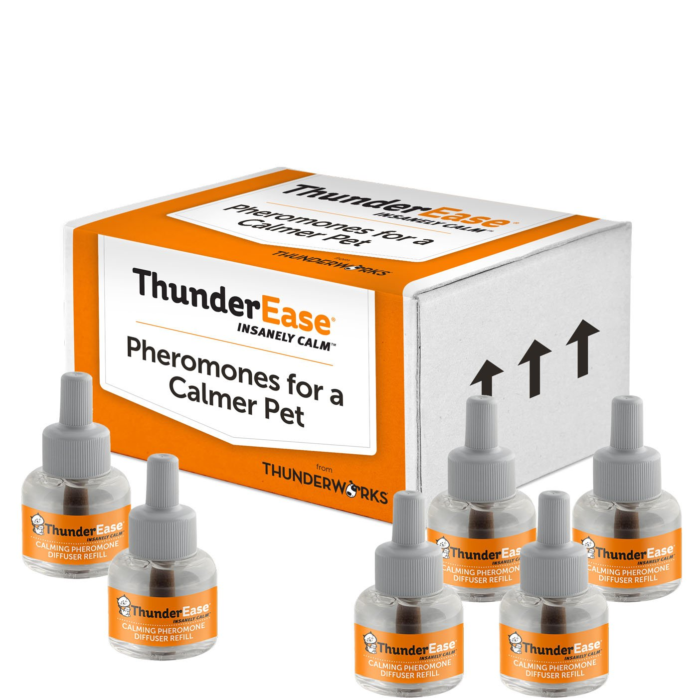 ThunderEase Cat Calming Pheromone Diffuser Refill | Powered by FELIWAY | Reduce Scratching, Urine Spraying, Marking, and Anxiety (180 Day Supply) by ThunderEase