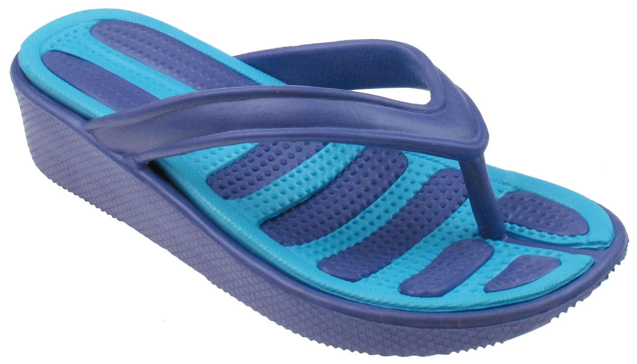 Capelli New York Girls Flip Flops with Contrasting Sock Purple 3/4