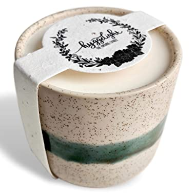Hyggelight The Growing Candle - Wildflower Seed Embedded Label, Reuse Ceramic Pot, Grow Flowers, Less Waste, 100% Soy Candle, 8.5oz - Created Edith - Lavender