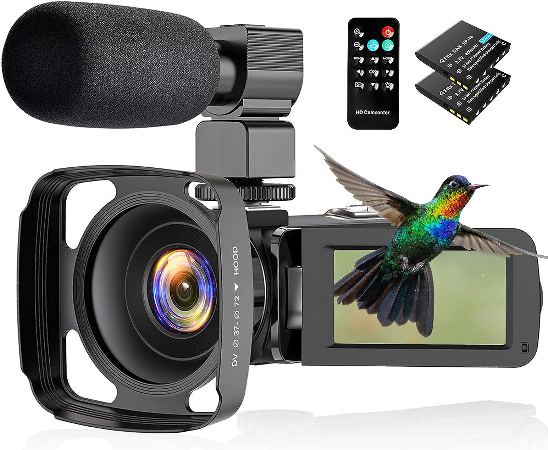 CamVeo 2.7K Videocámara Camcorder, Vlogging Kamera mit 1o6X leistungsstarken Zoom und 36 Mega Pixel IR Night Vision Digital, Kamera-Recorder mit 3,0 Zll LCD Touchscreen Camcorder Full HD mit Mikrofon