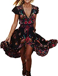 R.Vivimos Women s Summer Vintage Floral Print Deep V Neck High Low Long  Dresses 3c90c7ca10e3