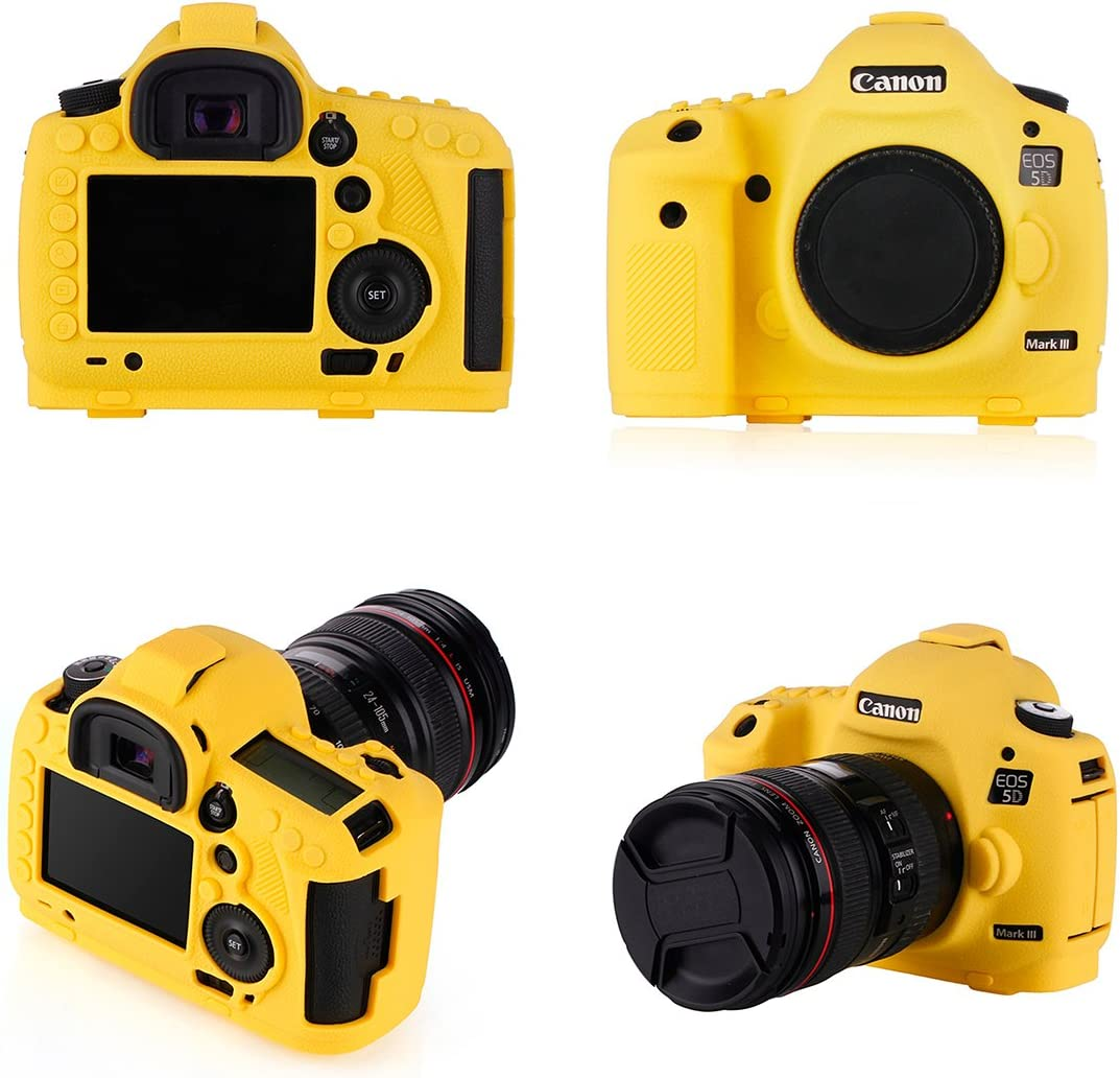 STSEETOP Canon 5D Mark IV Case with Texture Process Professional Silicion Rubber Camera Housing Case Cover Detachable Antiscratch shockproof Full body Protective case for Canon 5D Mark IV Yellow