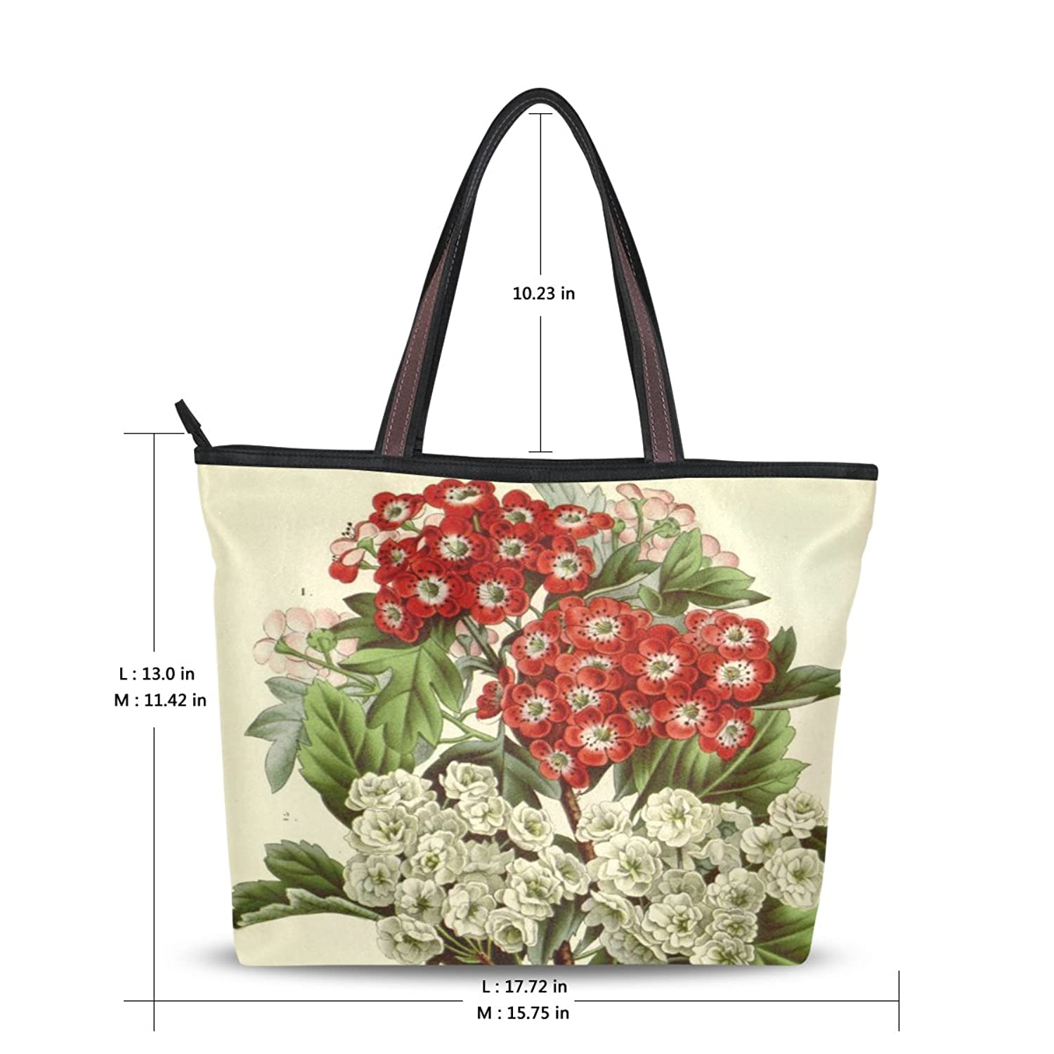 WHBAG Lightweight Handbag For Women,Art Vintage Flower,Shoulder Tote Bag