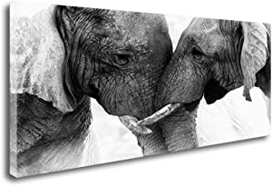 DZL Art D73050 Black and White Elephants Entwine Wall Art Canvas Painting Ready to Hang for Living Room Bedroom Office Wall Decor Home Decoration