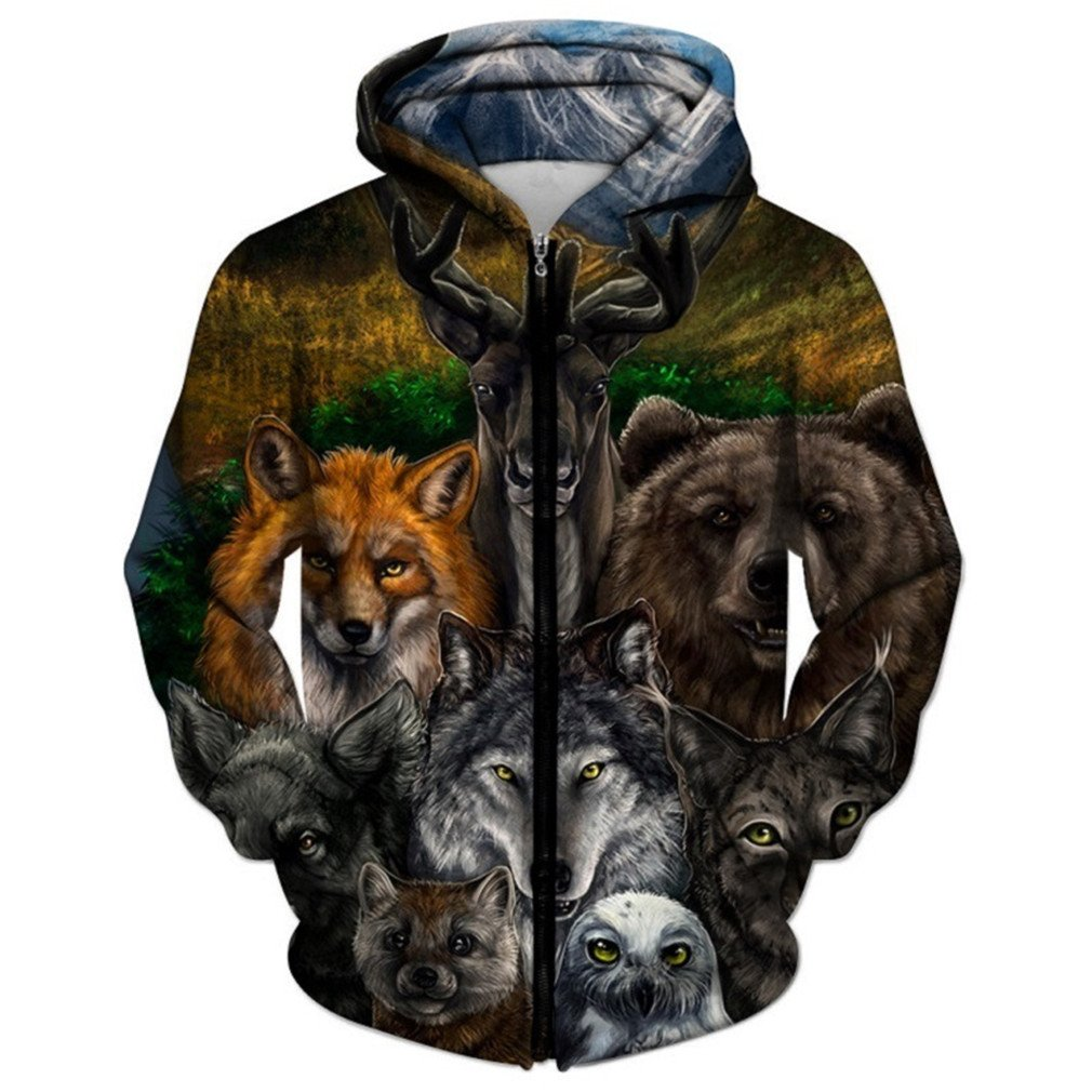 Animal Printed Zipper Hoodies 3D Hoodies Men Unisex Sweatshirts Autumn Pullover Casual Tracksuits AF1605 6XL