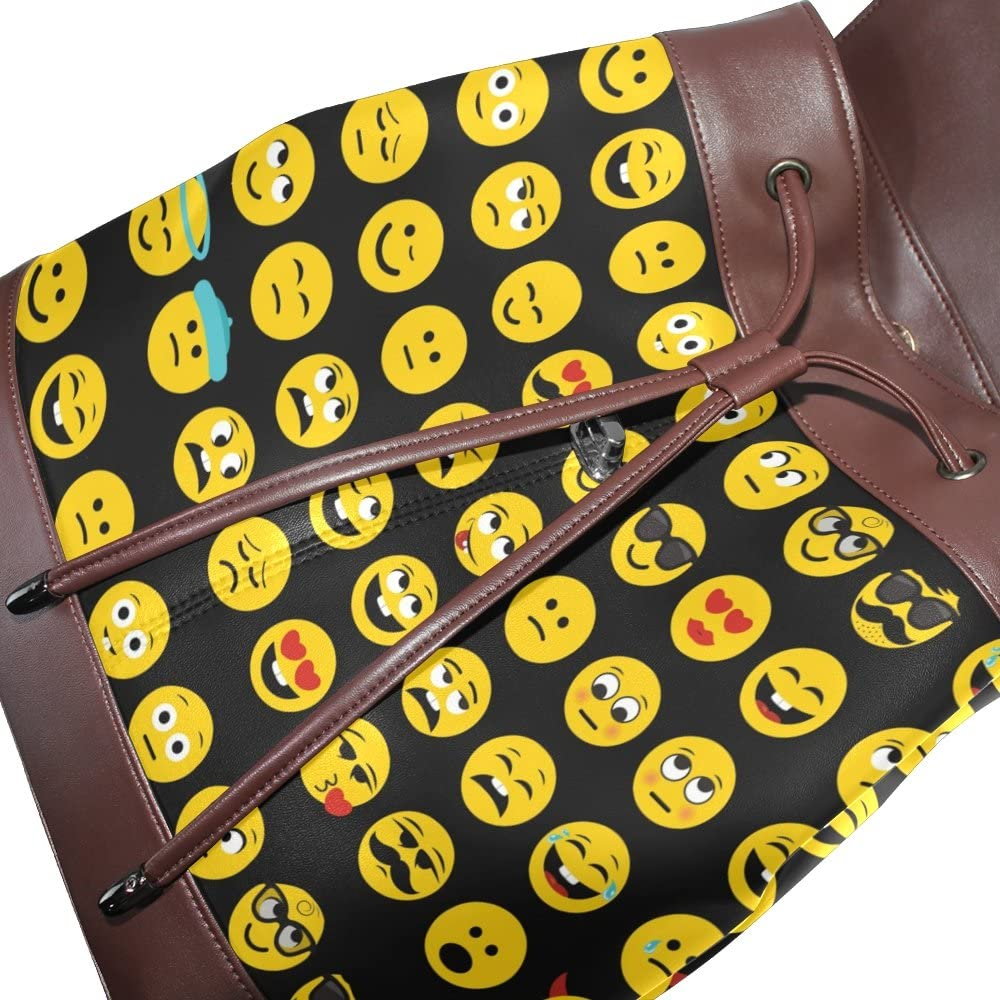 KUWT Yellow Emoticon PU Leather Backpack Photo Custom Shoulder Bag School College Book Bag Casual Daypacks Diaper Bag for Women and Girl