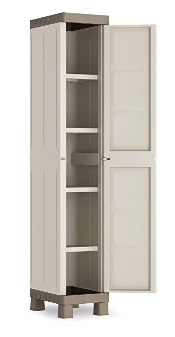 Kis Armadio In Resina Serie Excellence.Keter 9673000 Armadio 1 Anta 4 Ripiani Excellence Kis Beige Sabbia 33x45x182 Cm