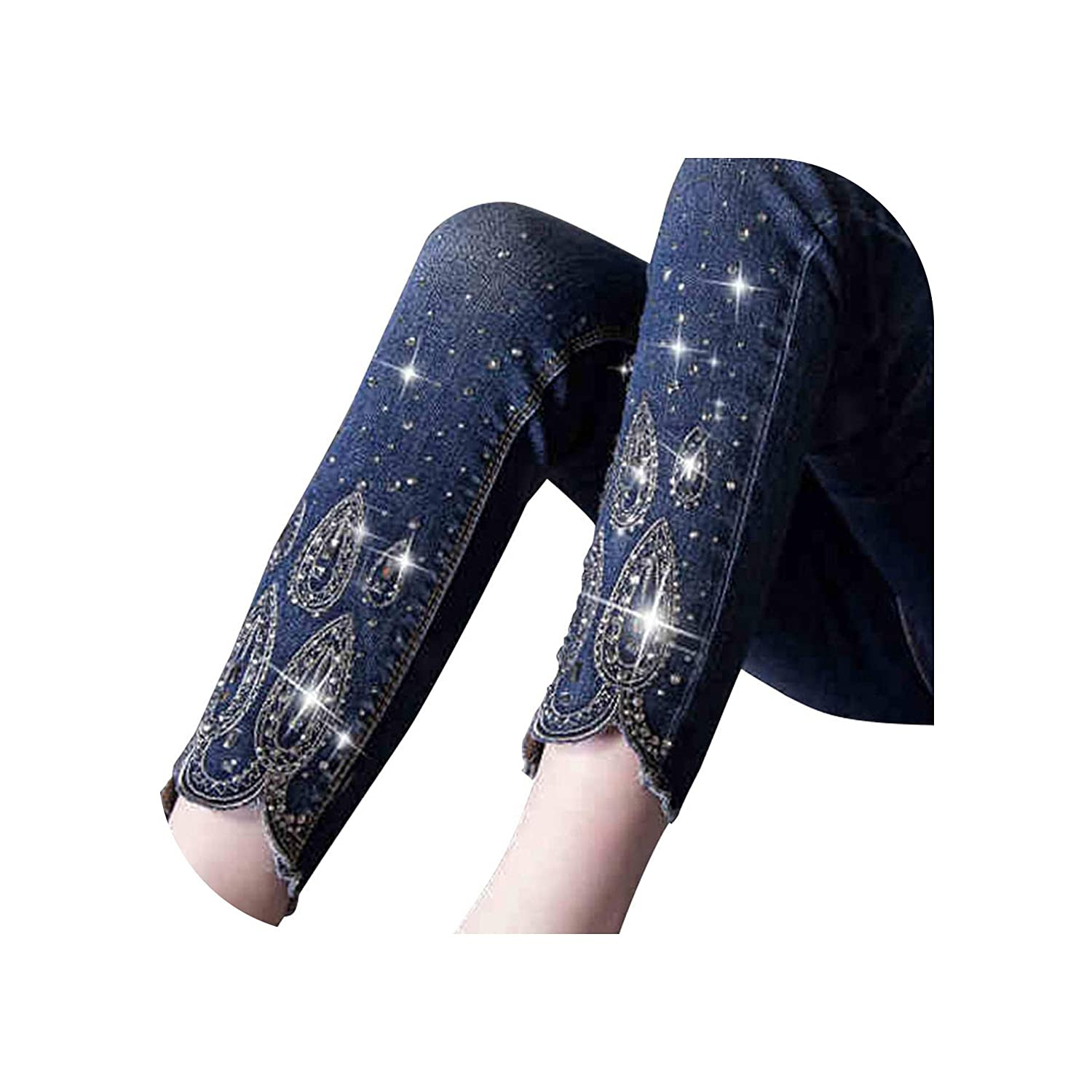 Beading Ankle Length Jeans Oversized Stretch Nine Pencil Pants Slim Fit Trousers