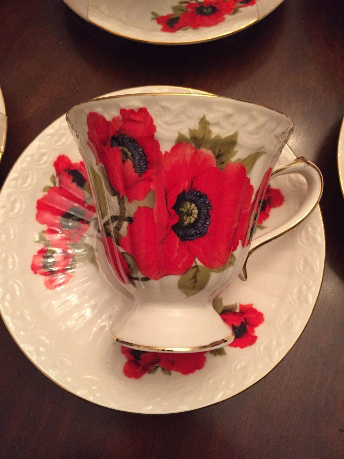 Tuweep ONE Coffee Cup+Saucer~Poppy Flowers Grace TEAWAREWHITE Porcelain~Gold Edge~New by Tuweep