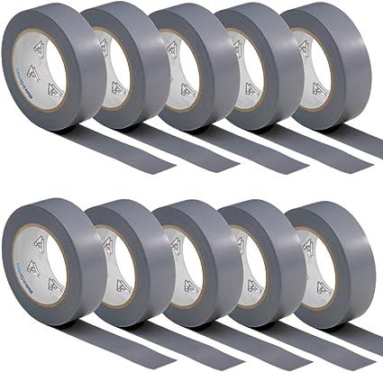 10 rouleaux VDE Ruban Isolant /Électrique Bande Isolatrice PVC 15mm x 10 DIN EN 60454-3-1 couleur gris