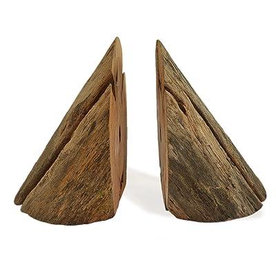 CinMin Rustic Natural Wood Live Edge Bookend Set of 2
