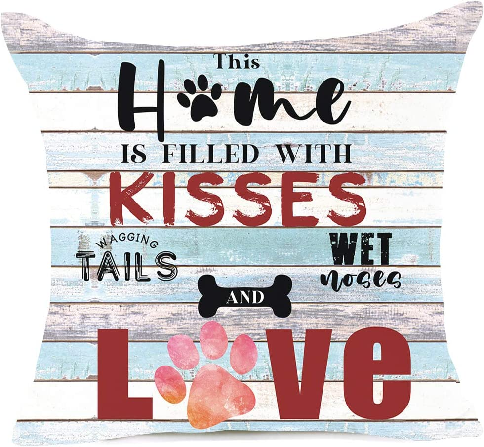 Items Similar to Dog Lovers Pillow Cover Sweet Funny Sayings This Home is Filled with Kisses Wagging Tails Wet Noses and Love Dog Paws. Best Gift for Sofa, Housewarming Gift Pet Lovers