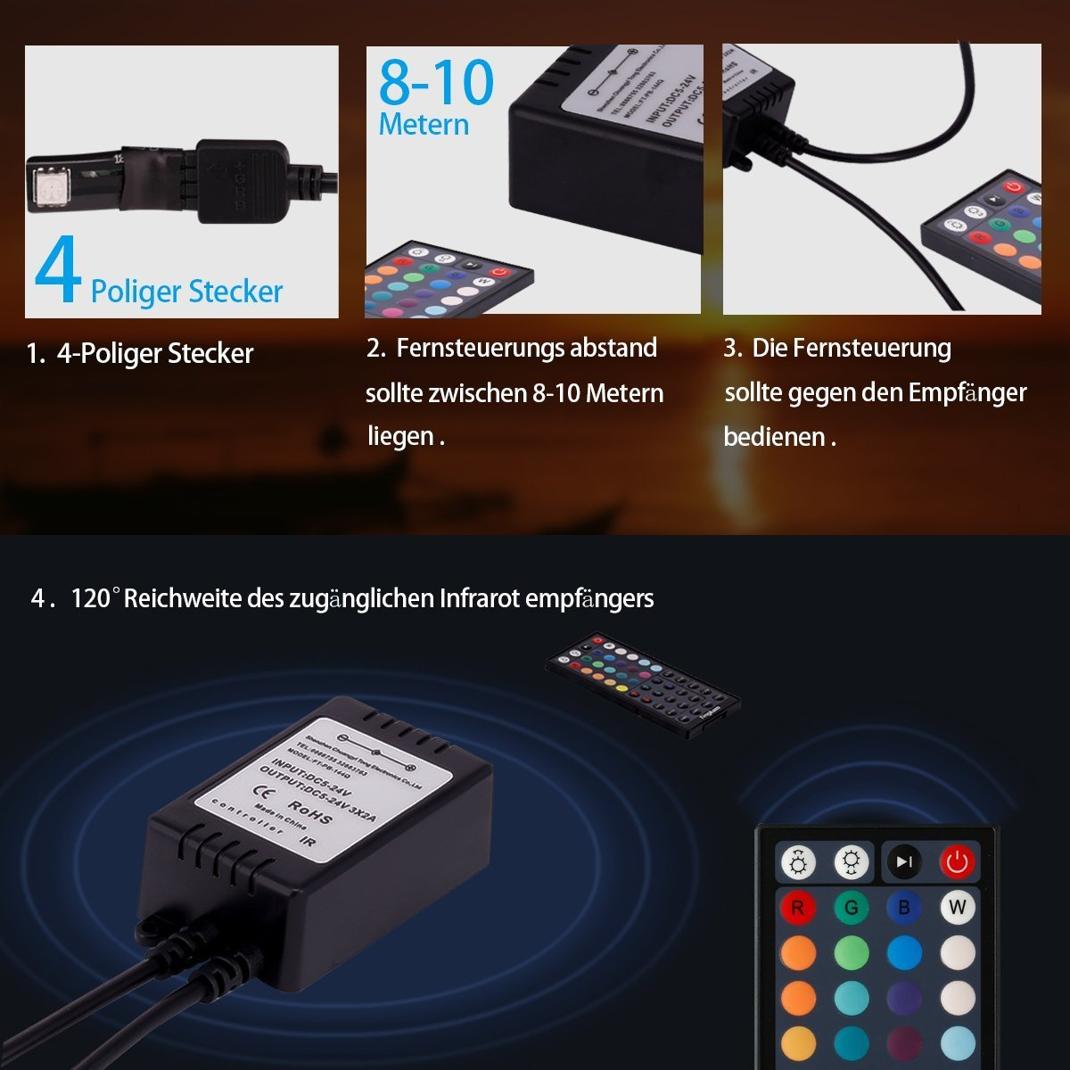 Tingkam® 16.4 ft 5M Waterproof 5050 SMD RGB LED Flexible Strip Light Black PCB Board Color Changing Decoration Lighting 150 LEDS Kit + 44 key Remote Controller+ 2.5A US Power Adapter by Tingkam (Image #2)